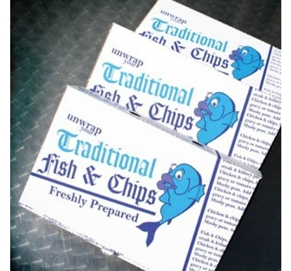"100 x Fish and Chip Medium size - 9"" Cardboard Boxes/Cartons - Height 5.0 cm Width 15.0 cm Depth 24.0 cm"