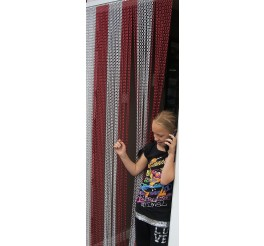Premium Red and Silver Coloured Aluminium Chain Blind - 100cm