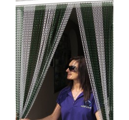 Premium Silver and Green Coloured Aluminium Chain Blind - 100cm