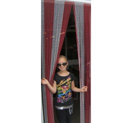 Premium Red and Silver Coloured Aluminium Chain Blind - 90cm