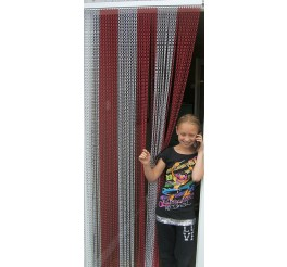 Premium Red and Silver Coloured Aluminium Chain Blind - 80cm
